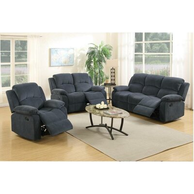 Linda Motion 3 Piece Living Room Set Upholstery Color: Blue Grey