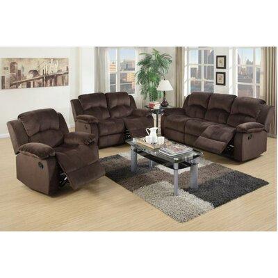 Linda 3 Piece Living Room Set Upholstery Color: Dark Brown