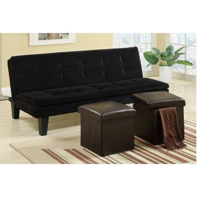 Ramiro Adjustable Sleeper Loveseat Upholstery: Black