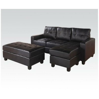 Batson Reversible Chaise Sectional Upholstery: Black