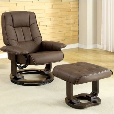 Cheswold Swivel Lounge Chair and Ottoman Upholstery: Brown