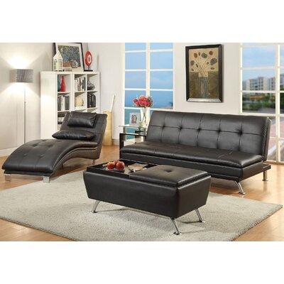 A&J Homes Studio ZD-7WF8A3JXBLK Serrano Adjustable 3 Piece Living Room Set