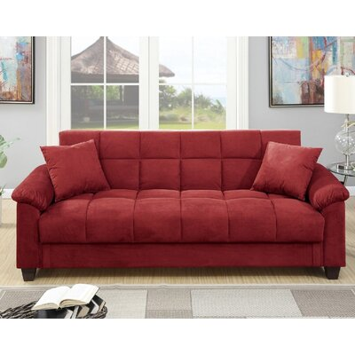 A&J Homes Studio Lakeview Adjustable Storage Sofa Upholstery: Red