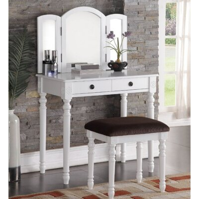 Cloverly Vanity Set with Mirror Finish: White