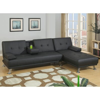 Canyon Sleeper Sectional Upholstery: Black