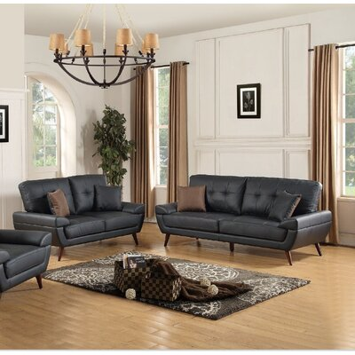 Wintersburg Leather Sofa and Loveseat Set Upholstery: Black