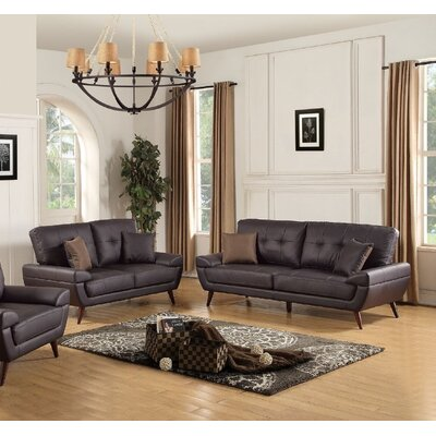 Wintersburg Leather Sofa and Loveseat Set Upholstery: Brown