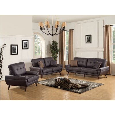 Wintersburg 3 Piece Leather Living Room Set Upholstery: Brown
