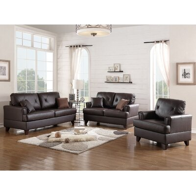 Bethany 3 Piece Leather Living Room Set Upholstery: Brown