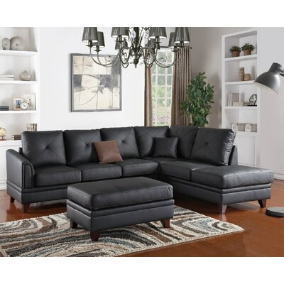 Danby Reversible Chaise Sectional Upholstery: Black