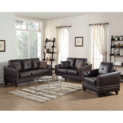 Fenner 3 Piece Leather Living Room Set Upholstery: Brown