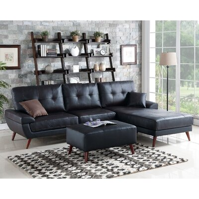 Aguilla Leather Sectional Upholstery: Black