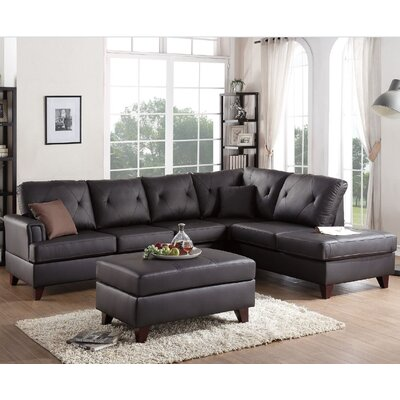Orme Reversible Sectional with Ottoman Upholstery: Brown