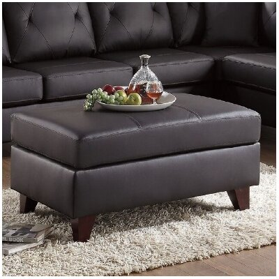 Allene Leather Cocktail Ottoman Upholstery: Brown