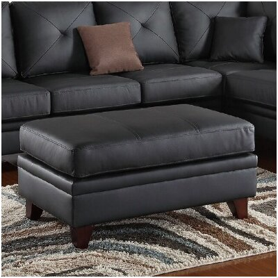 Danby Leather Cocktail Ottoman Upholstery: Black
