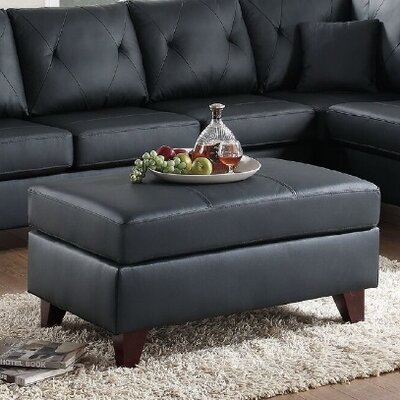 Orme Leather Ottoman Upholstery: Black
