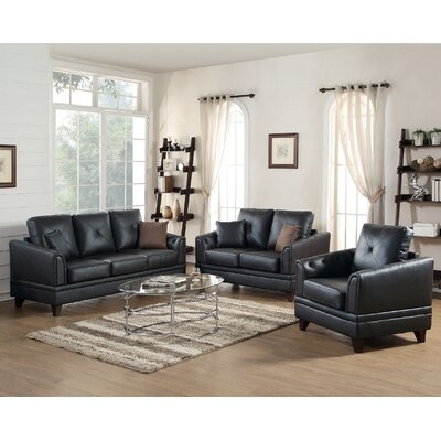 Fenner 3 Piece Leather Living Room Set Upholstery: Black