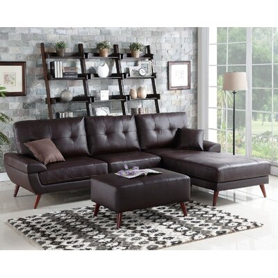 Aguilla Leather Sectional Upholstery: Brown