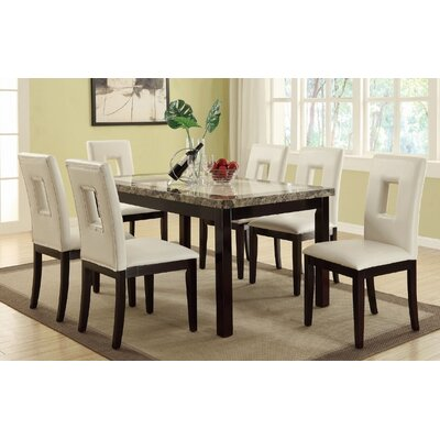 Leche 7 Piece Dining Set Finish: White