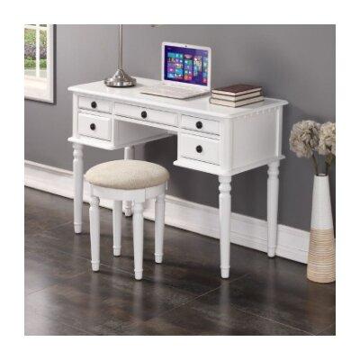 Salinas Writing Desk and Stool Set Finish: White