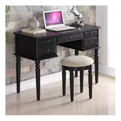 Salinas Writing Desk and Stool Set Finish: Black