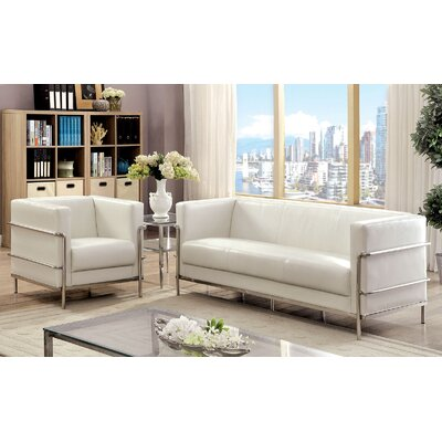 Leifur 2 Piece Living Room Set Upholstery: White