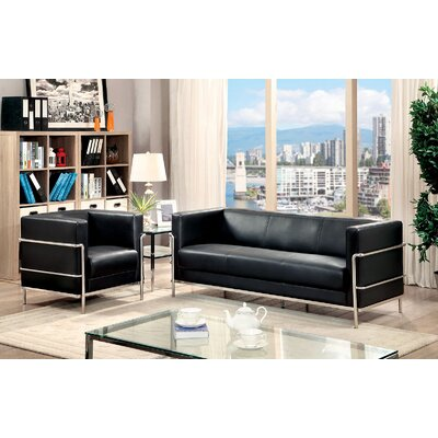 Leifur 2 Piece Living Room Set Upholstery: Black