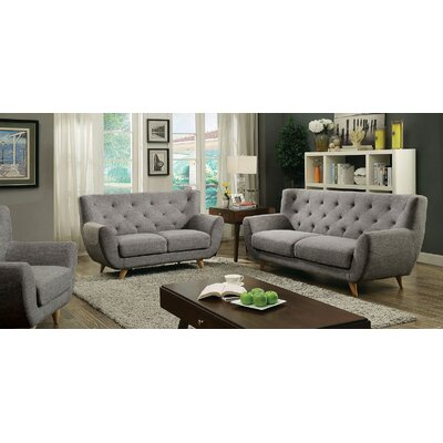 Carin 3 Piece Leather Living Room Set Upholstery: Light Gray