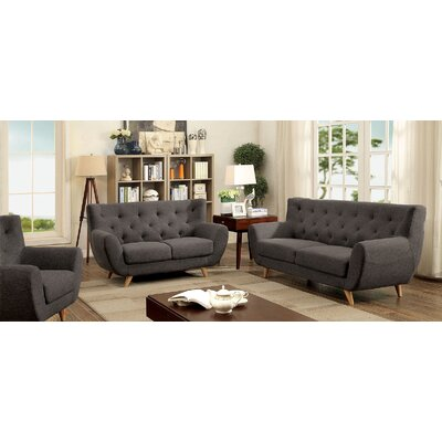 Carin 3 Piece Leather Living Room Set Upholstery: Gray