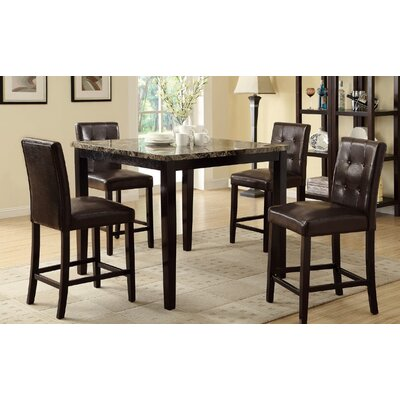 Ronald 5 Piece Counter Height Dining Set Upholstery Color: Dark Brown, Top Finish: Brown