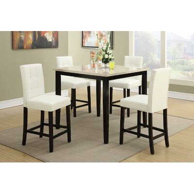 Ronald 5 Piece Counter Height Dining Set Upholstery Color: White, Top Finish: White