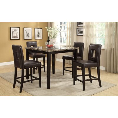 Reagan 5 Piece Counter Height Dining Set Upholstery Color: Dark Brown, Top Finish: Brown