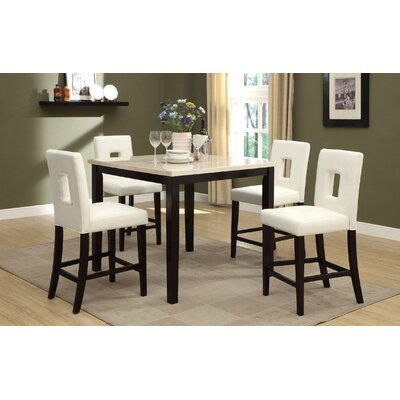 Reagan 5 Piece Counter Height Dining Set Upholstery Color: White, Top Finish: White
