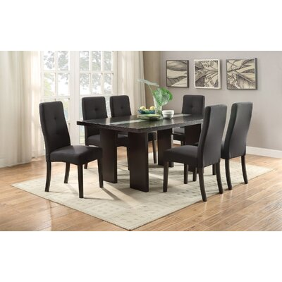 Joann 7 Piece Dining Set Upholstery Color: Black