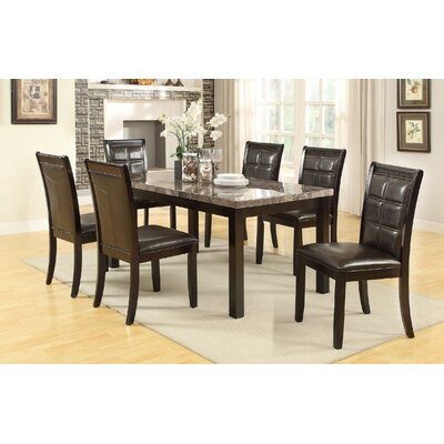 Prado 7 Piece Dining Set Upholstery Color: Dark Brown, Top Finish: Brown