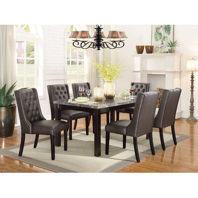 Clisco 7 Piece Dining Set Upholstery Color: Espresso, Top Finish: Brown