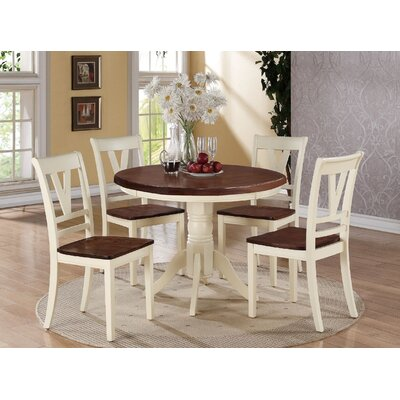 Clifton 5 Piece Dining Set Finish: Cherry/Cream