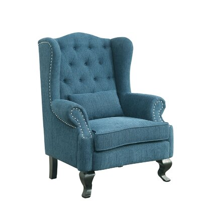 Willow Wingback Chair Upholstery: Blue