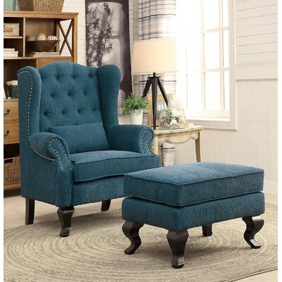 Willow Wingback Chair and Ottoman Upholstery: Blue