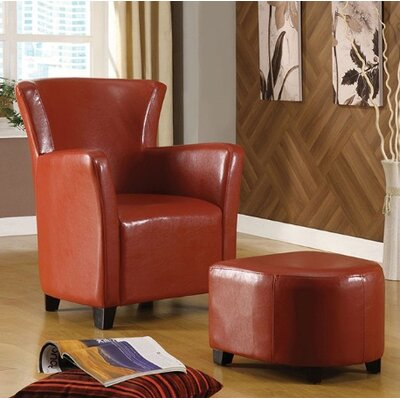 Half Moon Bay Barrel Chair and Ottoman Upholstery: Red
