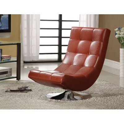Sowards Swivel Lounge Chair Upholstery: Mahogany Red
