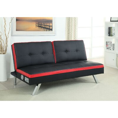 Nowaczyk Convertible Sofa Upholstery: Black/Red