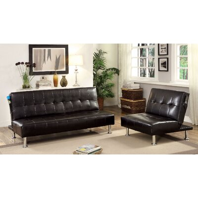 Bulle 2 Piece Leather Adjustable Sofa Set Upholstery: Black