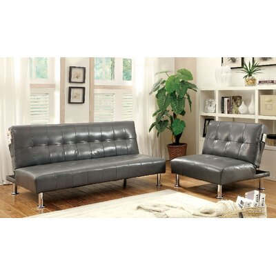 Bulle 2 Piece Leather Adjustable Sofa Set Upholstery: Gray