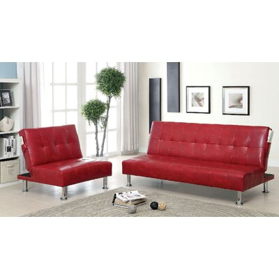 Bulle 2 Piece Leather Adjustable Sofa Set Upholstery: Red