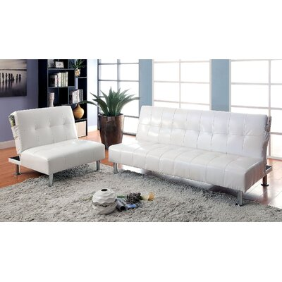 Bulle 2 Piece Leather Adjustable Sofa Set Upholstery: White