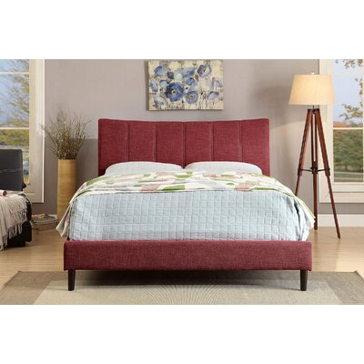 Shatnawi Upholstered Panel Bed Color: Red, Size: Full