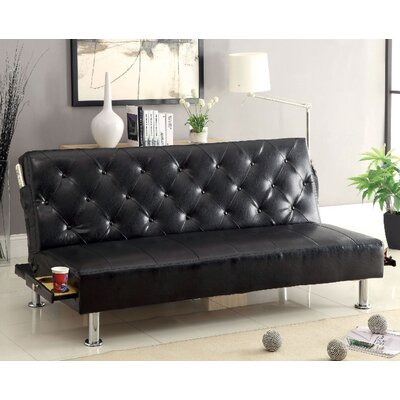 Farel Convertible Sofa Upholstery: Black