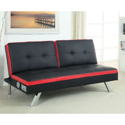 Harley Convertible Sofa Upholstery: Black/Red
