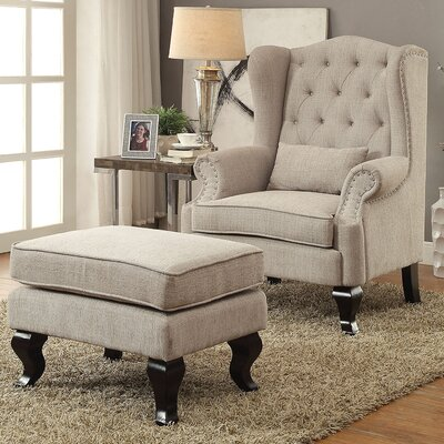 Willow Wingback Chair and Ottoman Upholstery: Light Gray
